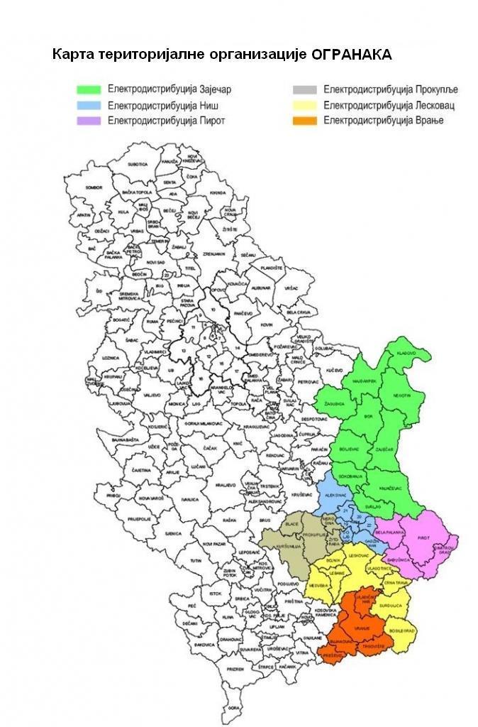 lebane mapa srbije Структура ОГРАНАКА | ЕД Југоисток lebane mapa srbije